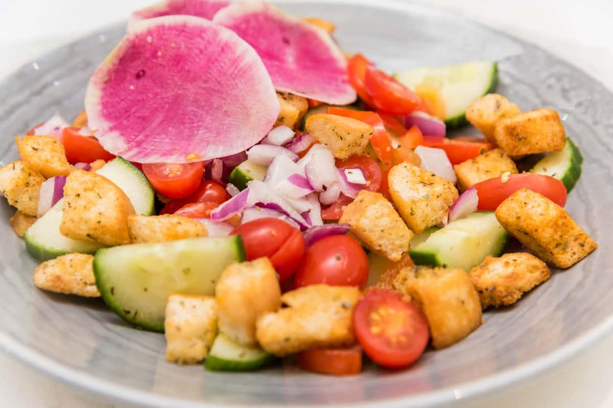 Panzanella & Watermelon Radish Salad