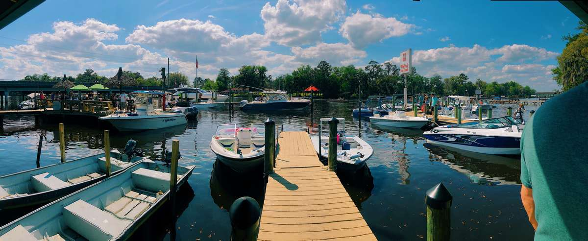 Docked boats at Whitey's Fish Camp