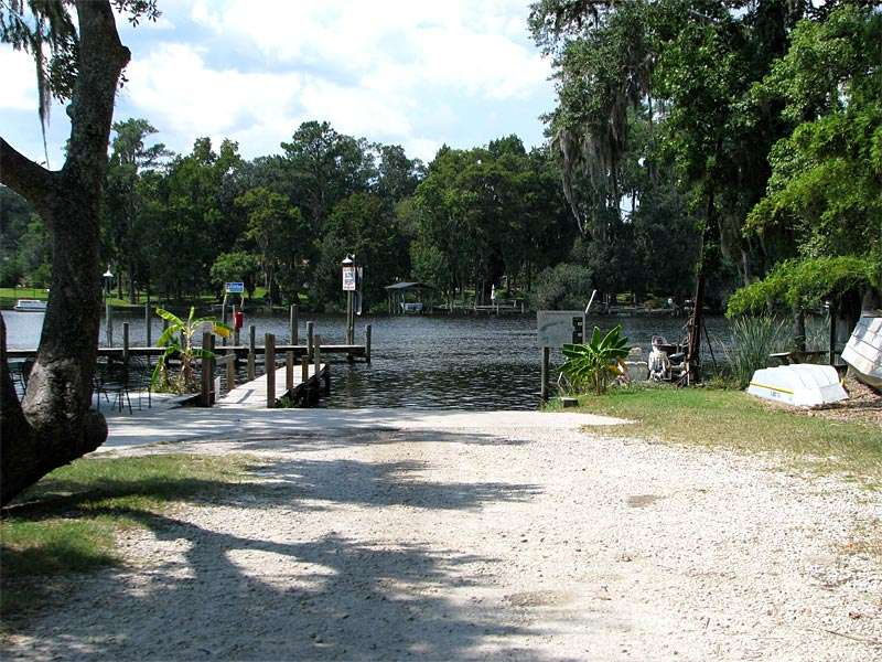 Path leading to a lake and dock