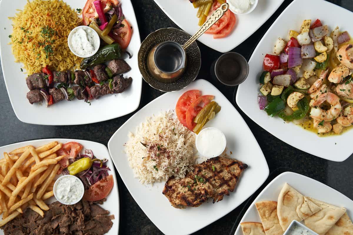 food platters, grilled chicken, kabobs, shrimp, fries