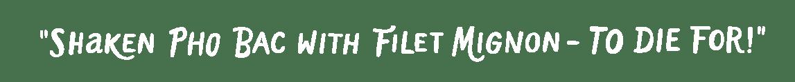 Testimonial: Shaken Pho Bac with Filet Mignon - to die for!