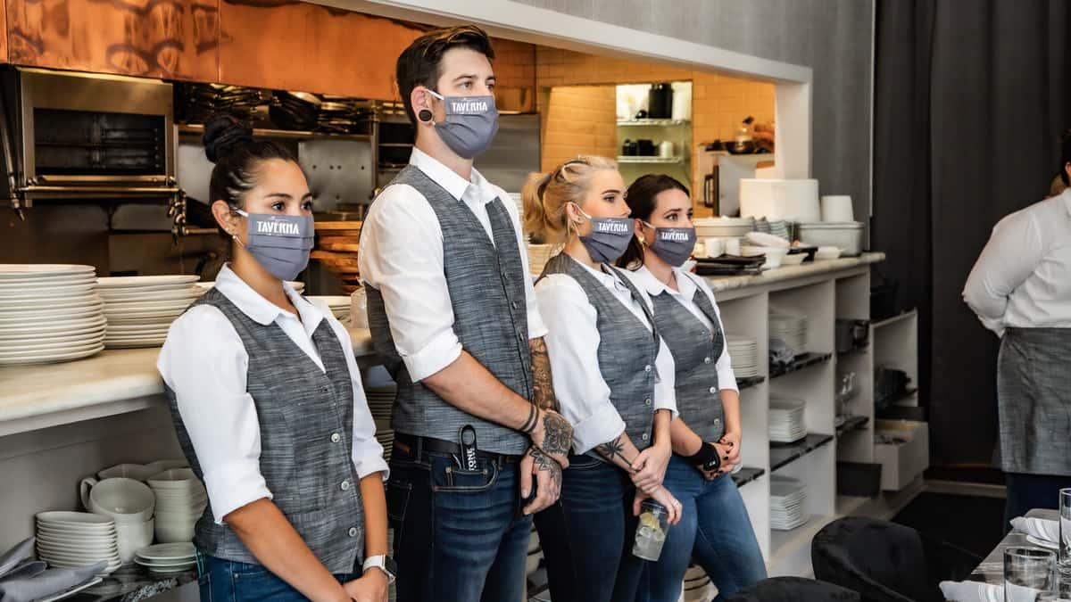 Staff in masks