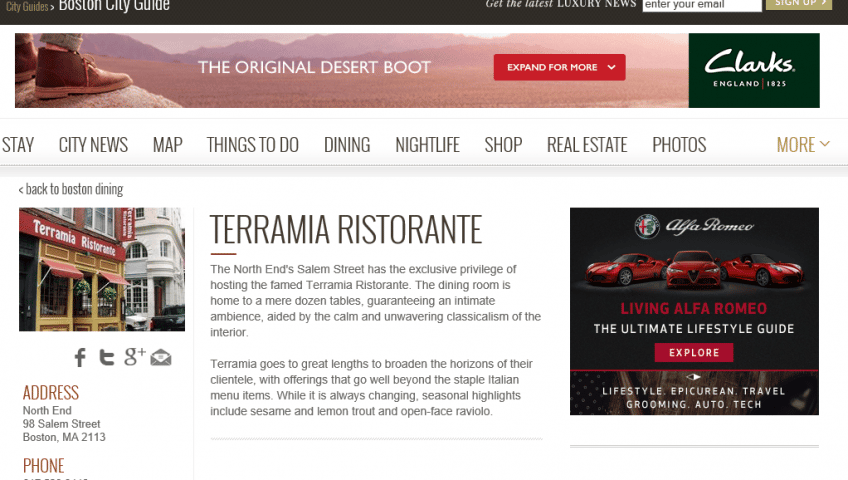 """""""The North End's Salem Street has the exclusive privilege of hosting the famed Terramia Ristorante"""" – Just Luxe"""
