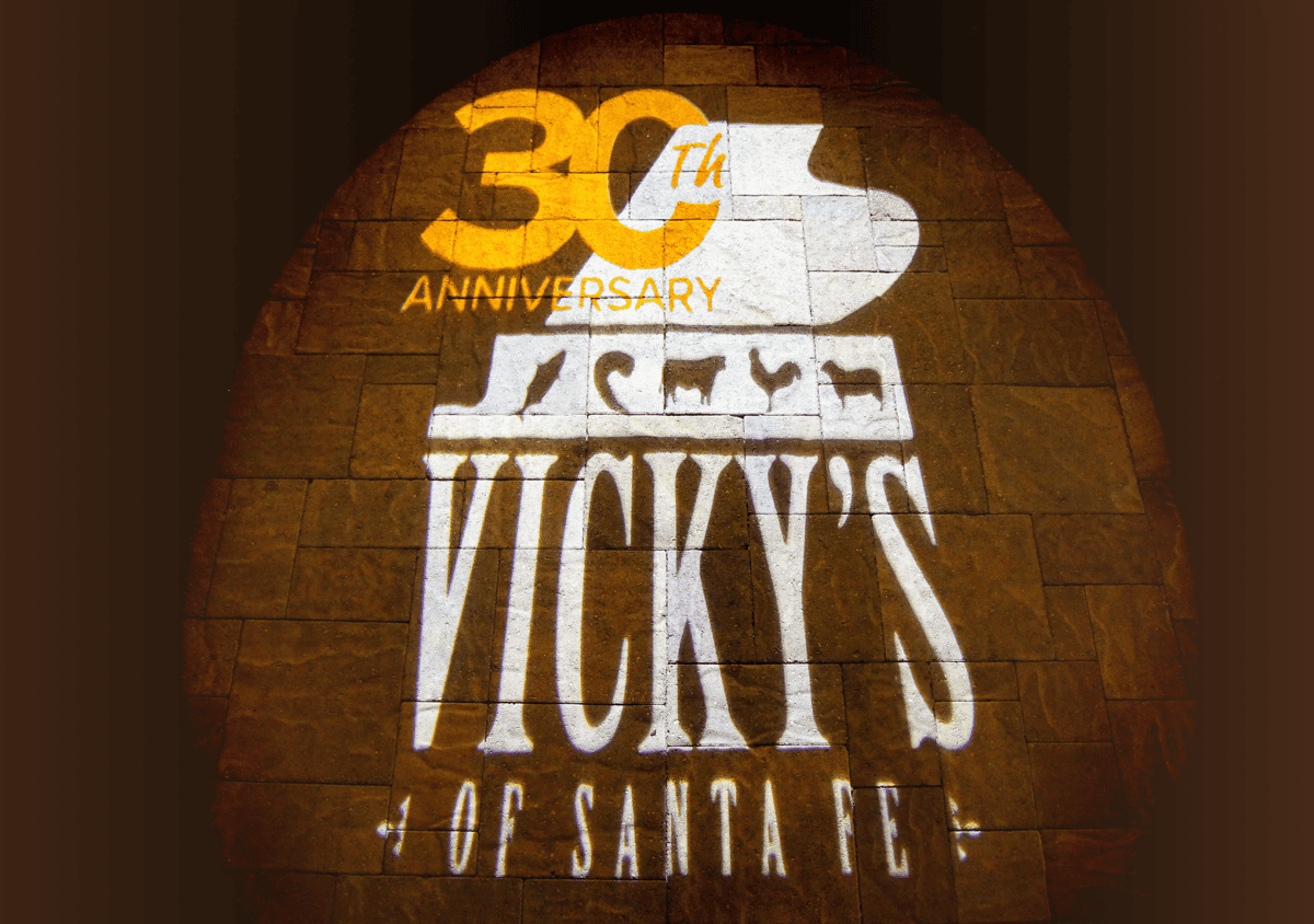 projector light of 30th anniversary Vicky's logo