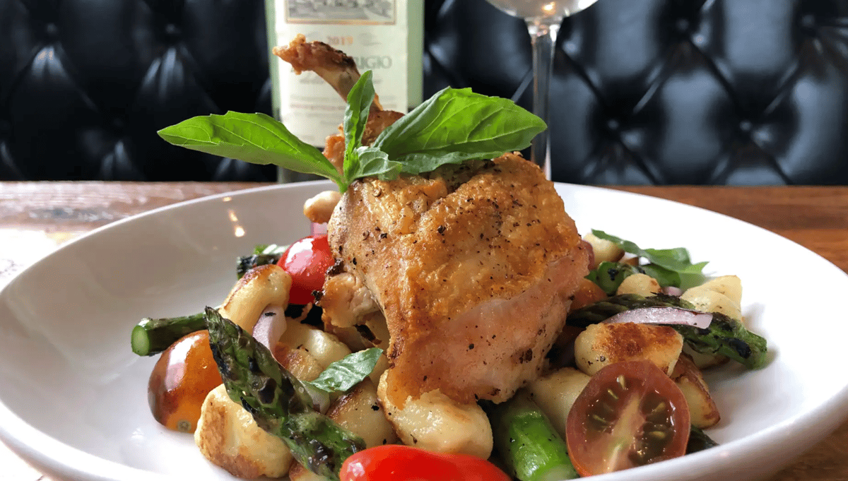 Roasted Chicken with Gnocchi, heirloom tomato and asparagus