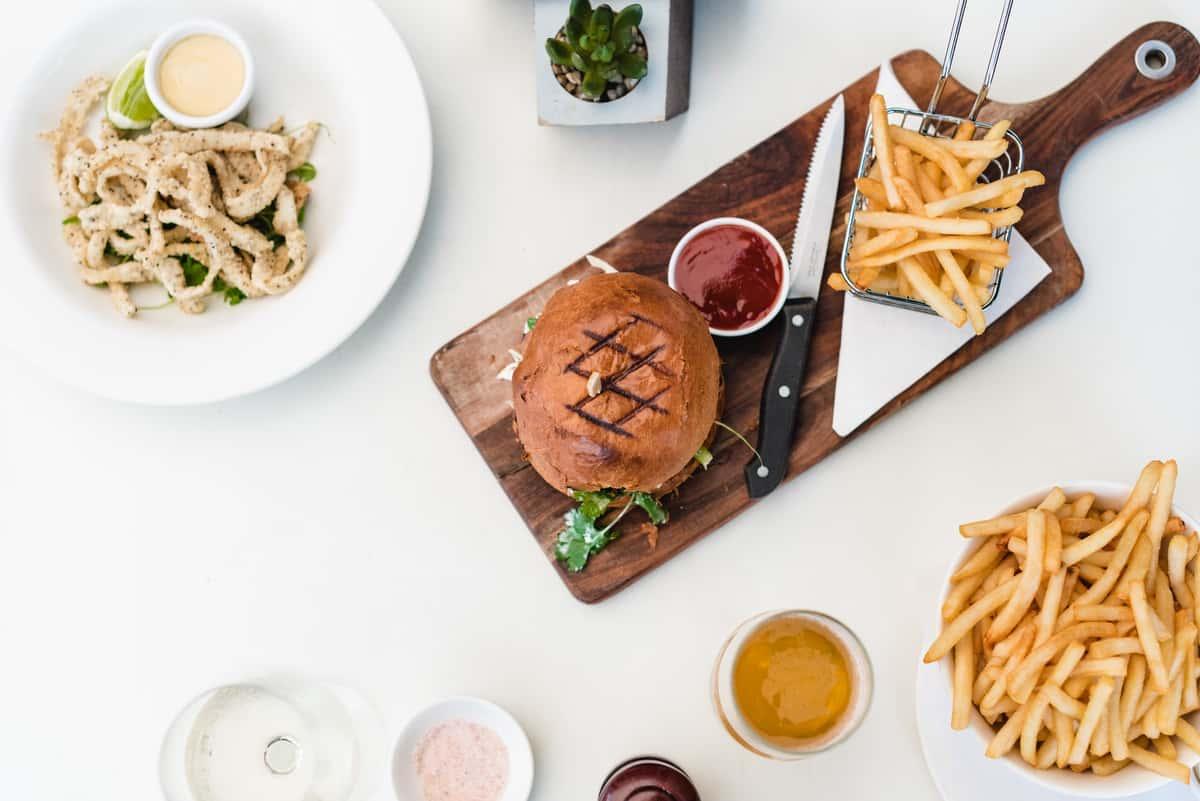 burger, fries and calamari