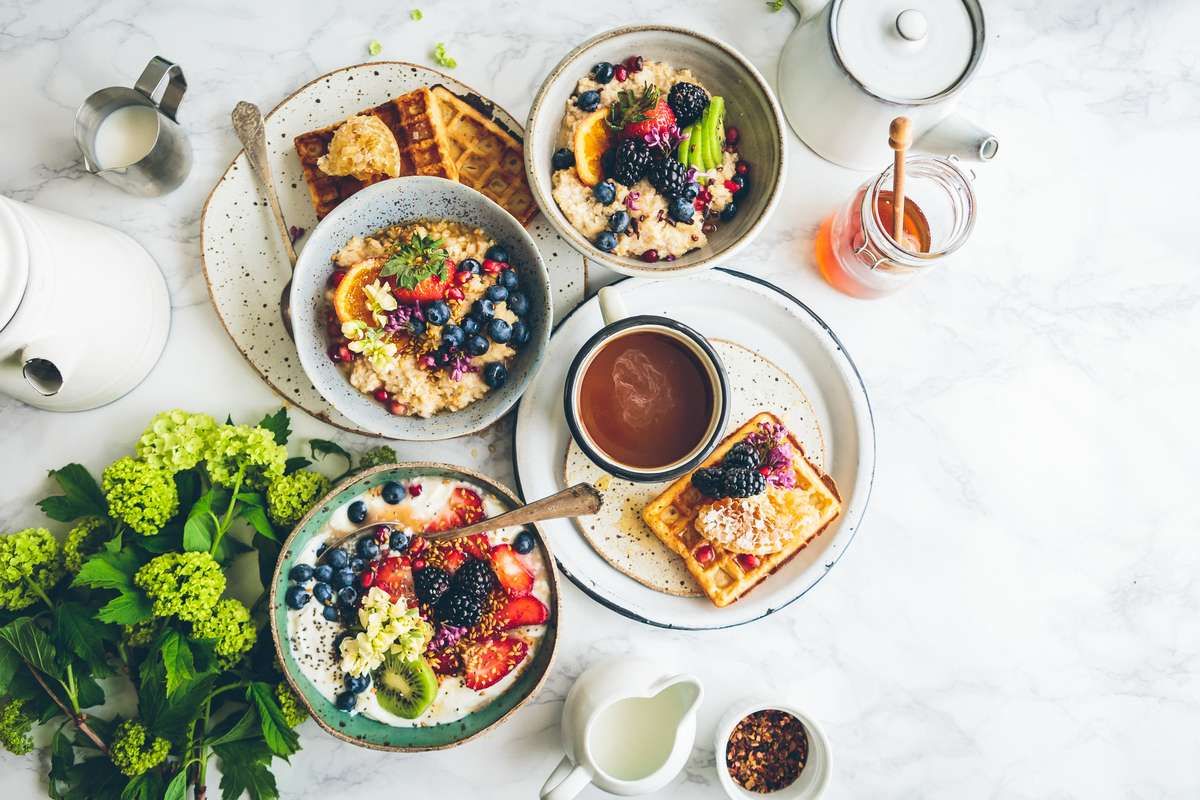 brunch layout with waffles