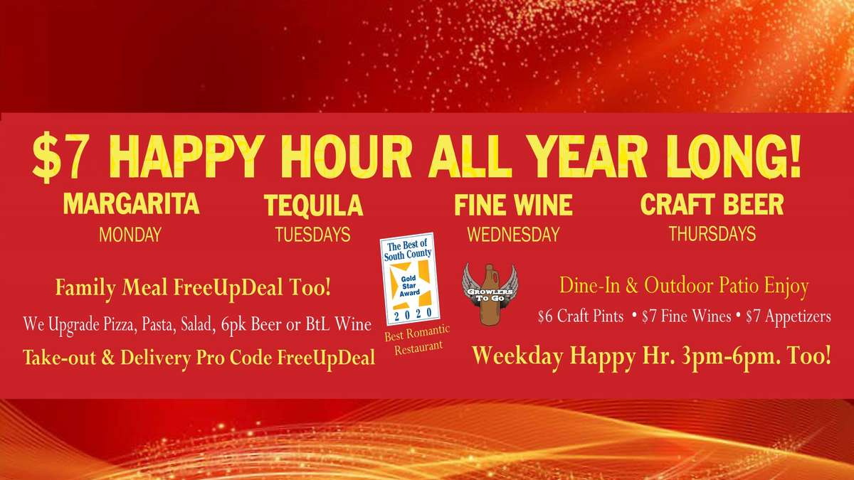 $7 Daily Happy Hours Many Ways