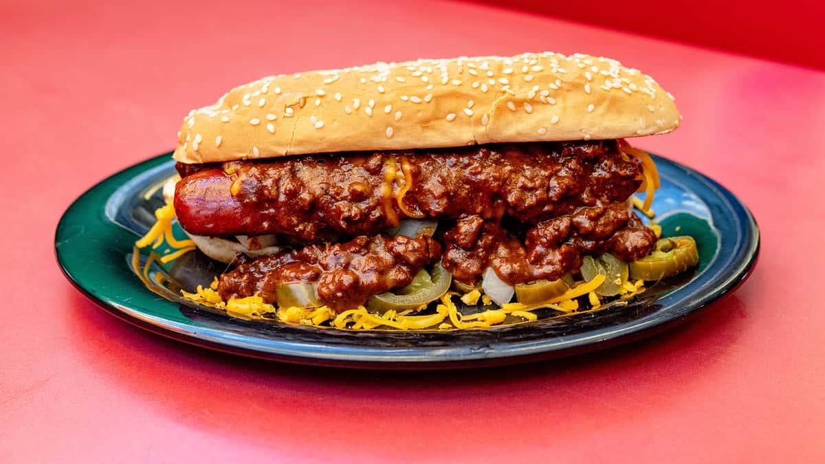 Hot Dog with Chili & Cheese