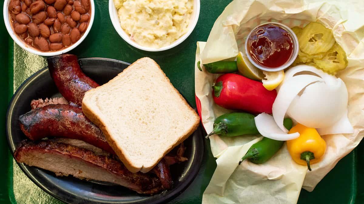 brisket and sausage plate