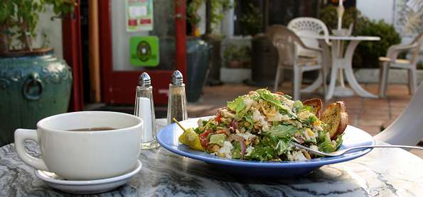 salad and coffee on the table