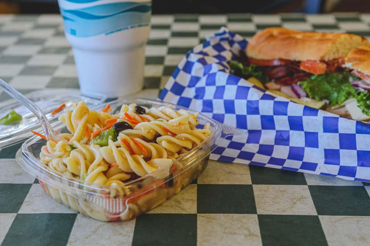 spicy chicken club and pasta salad