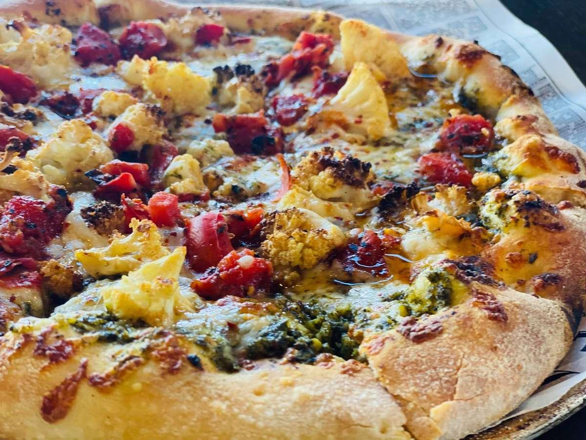 Roasted Cauliflower and Roasted Tomato Pizza