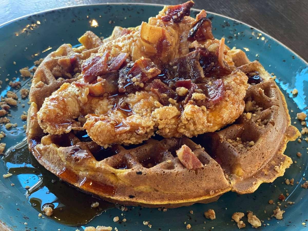 Pumpkin Spiced Waffles with Maple Crispy Chicken