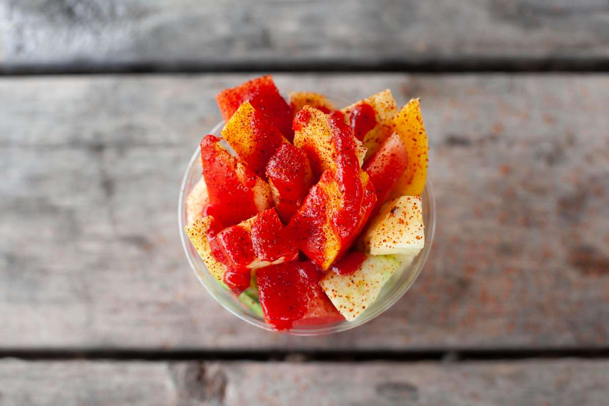 snowcone topped with fruit