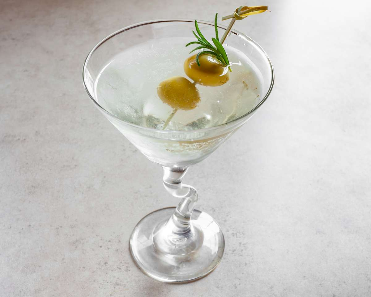 Vodka Martini with Blue Cheese-Stuffed Olives