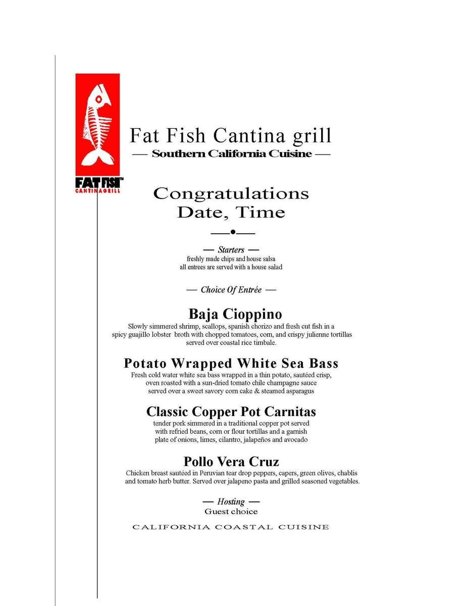formal menu