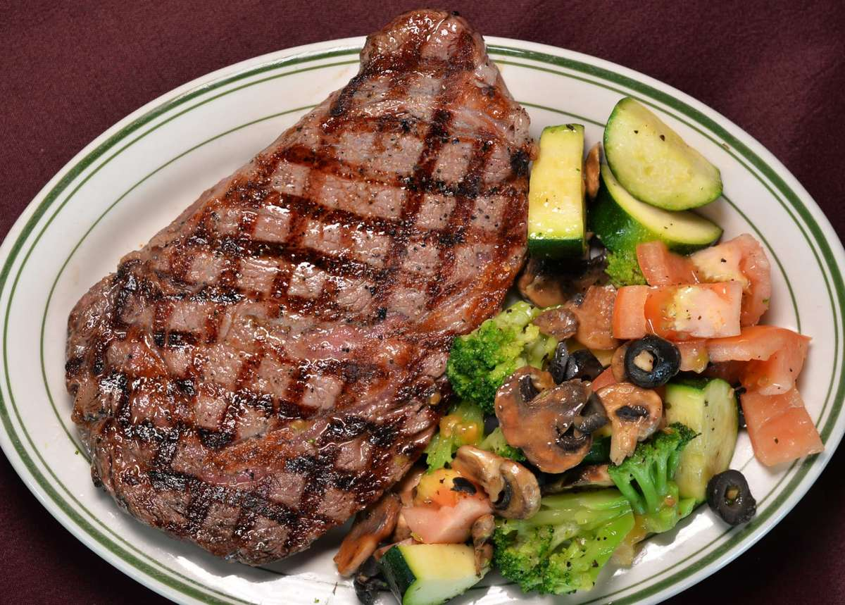 steak with a salad