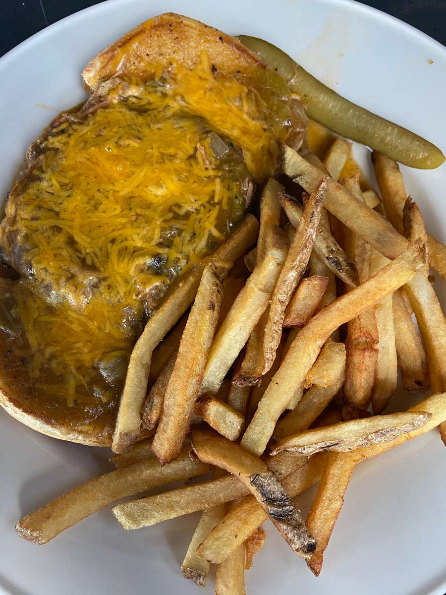 Open-Faced Green Chili Burger