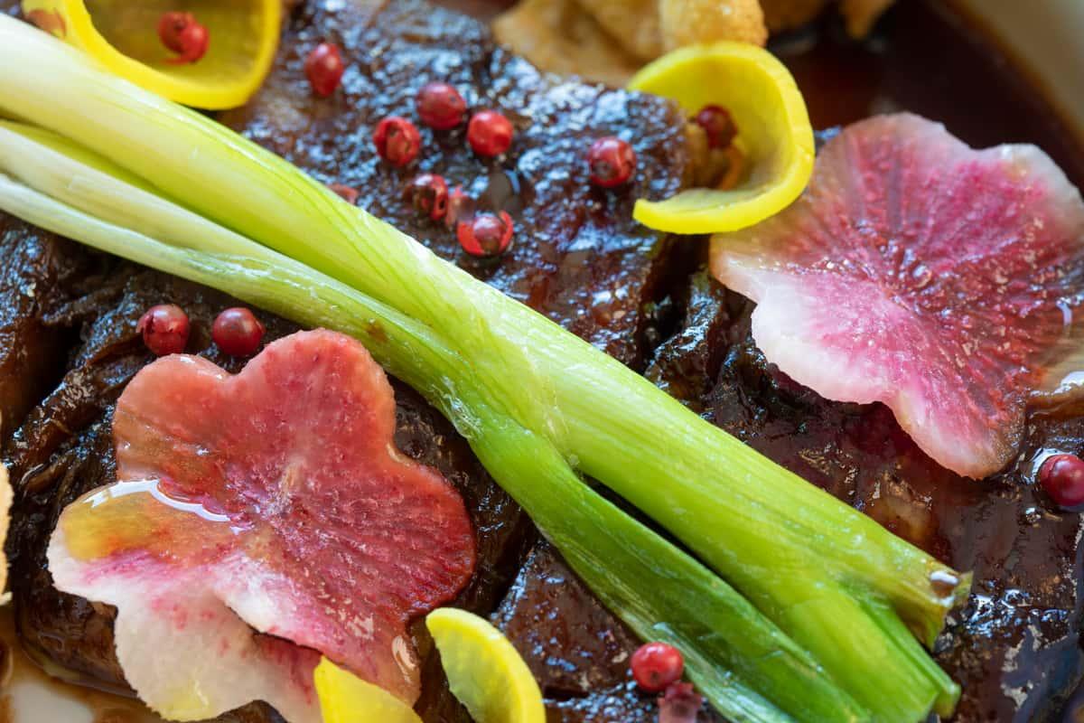 Pomegranate & Aam Papad Glazed Pork Belly