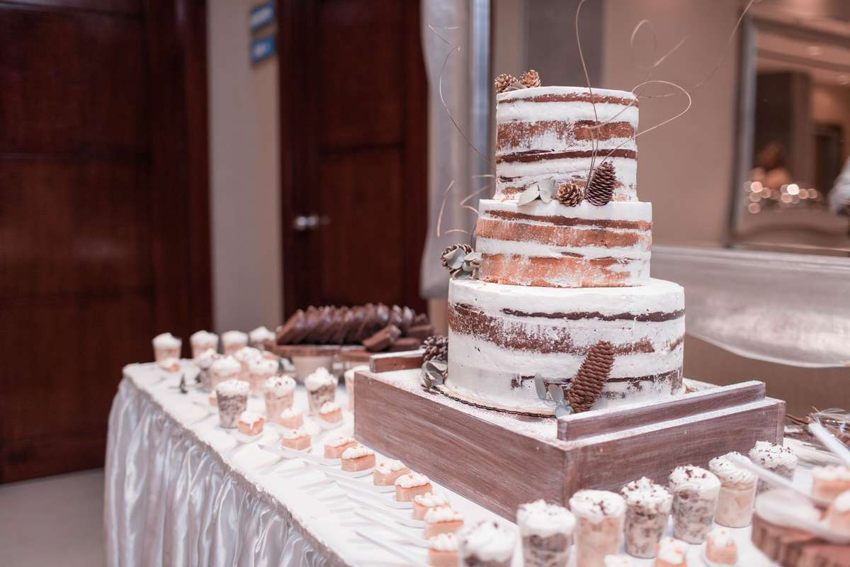 Wedding cake with small desserts