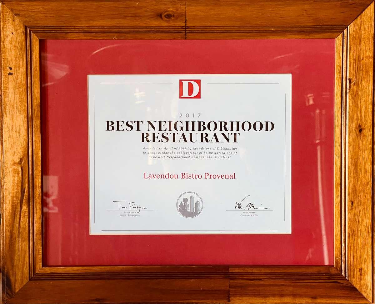 Best Neighborhood Restaurant 2017