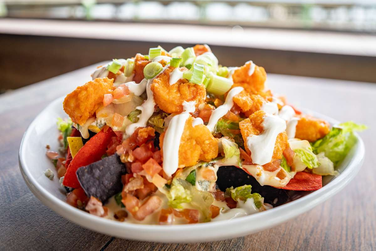 Buffalo Shrimp Nachos