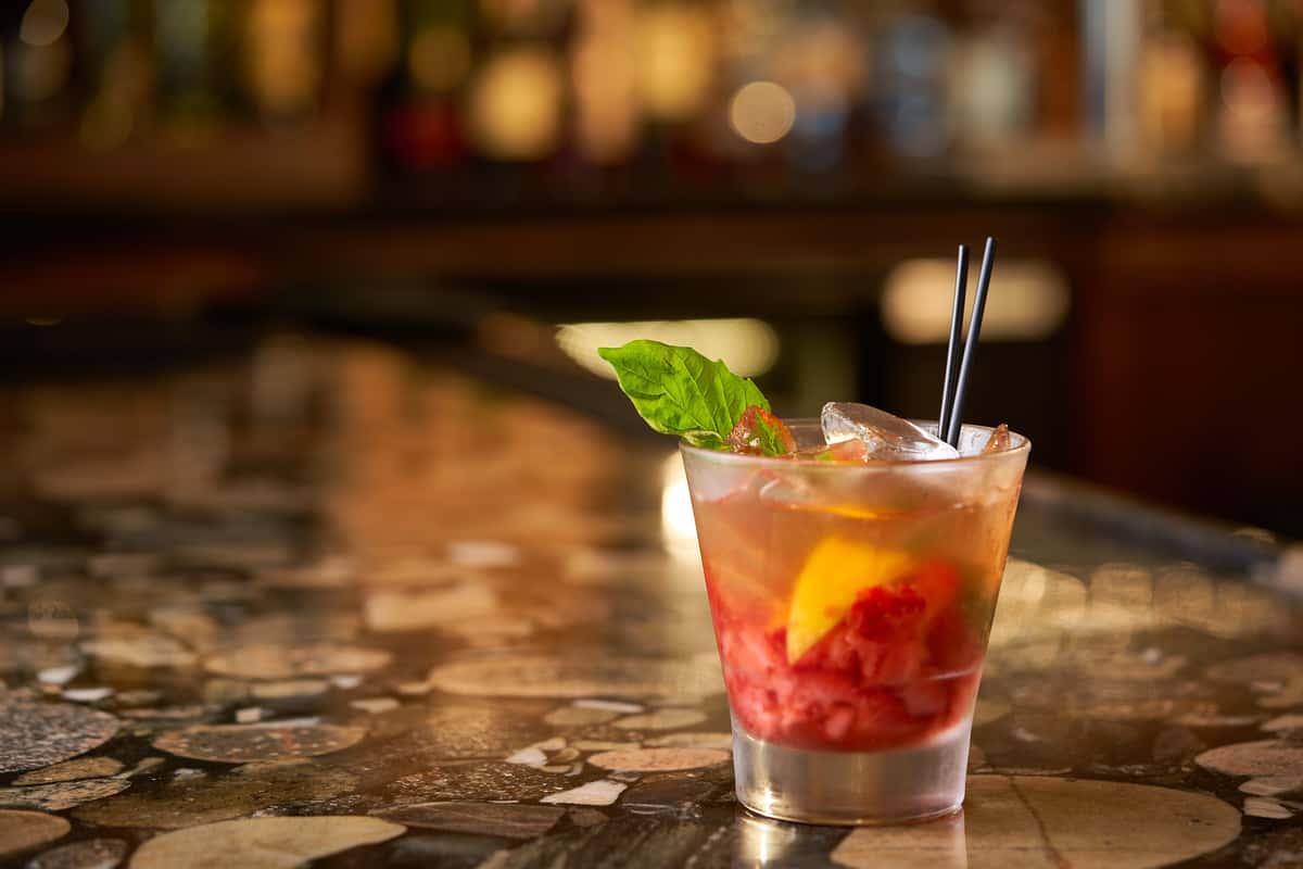Strawberry Basil Bourbon Smash