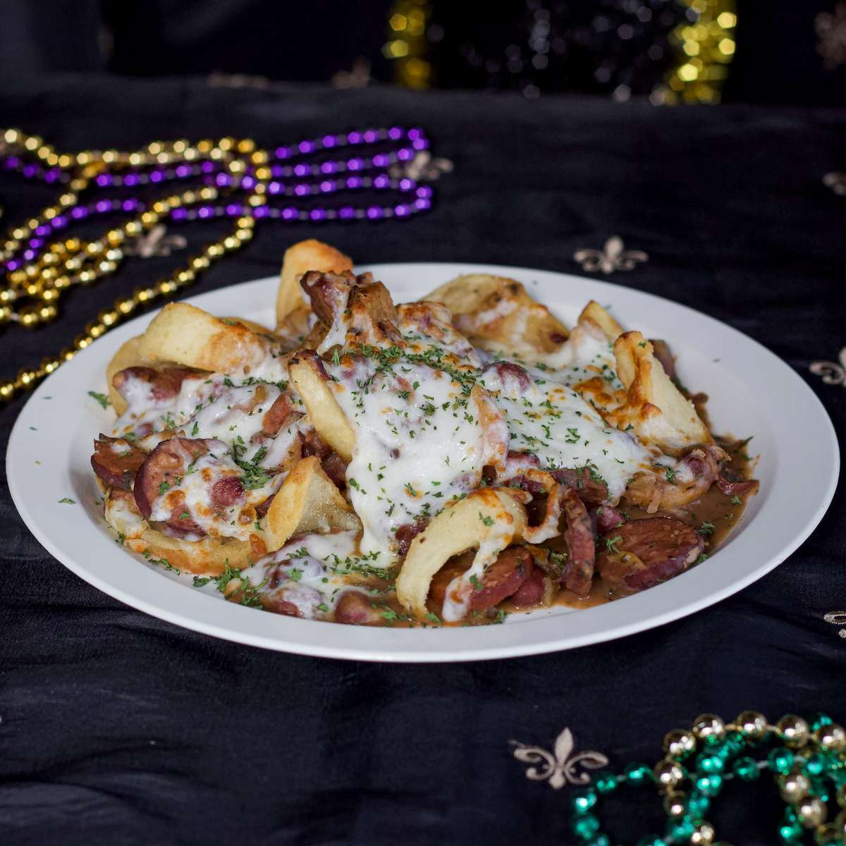 Cajun Cheese Fries with Red Beans
