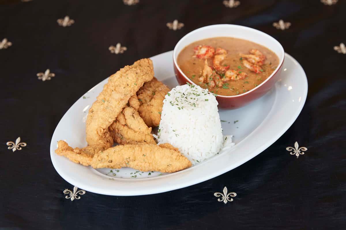 Fried Catfish with Crawfish Etouffee