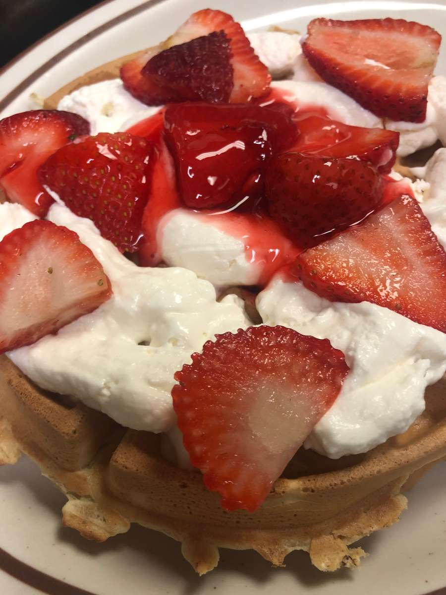 Strawberry Cheesecake Pancakes or Waffle