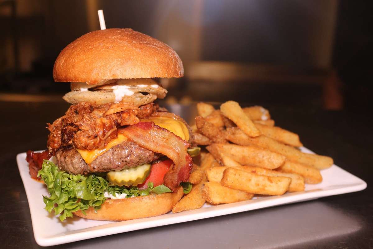 Hamburger and fries