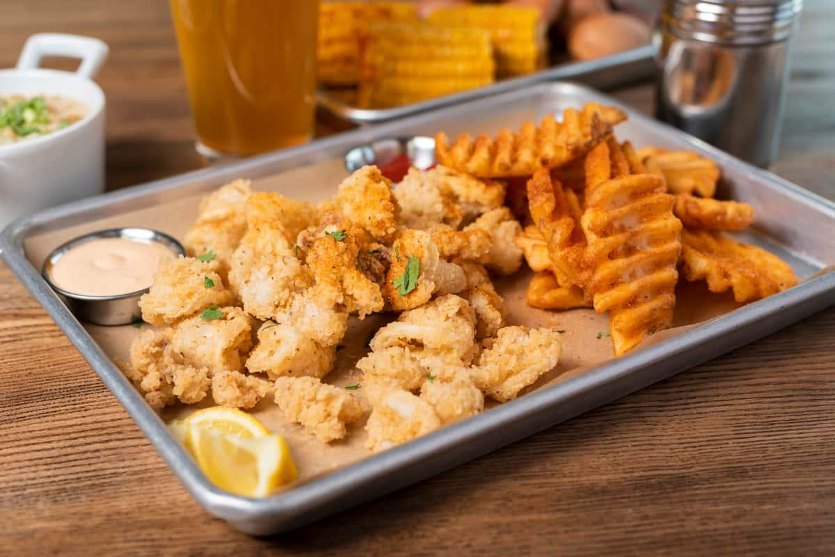 Fried calamari with waffle fries