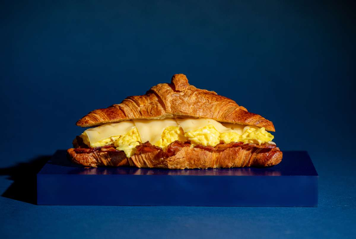 Scramble Egg, Bacon and Cheese Breakfast Croissant