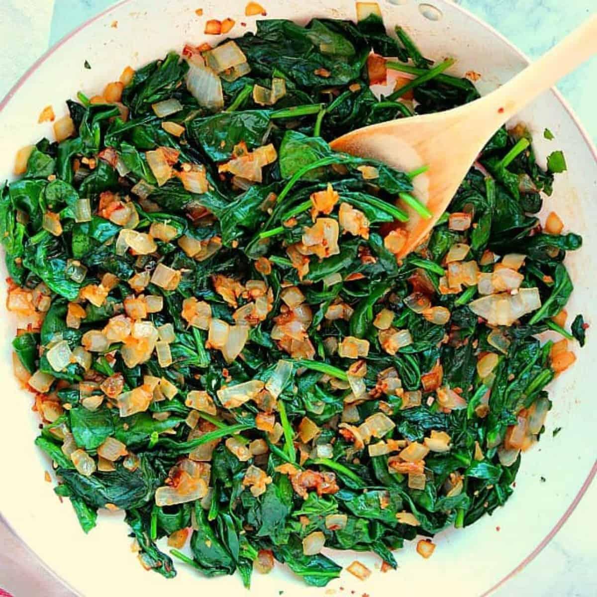 sauteed baby spinach + cannolini bean ragu