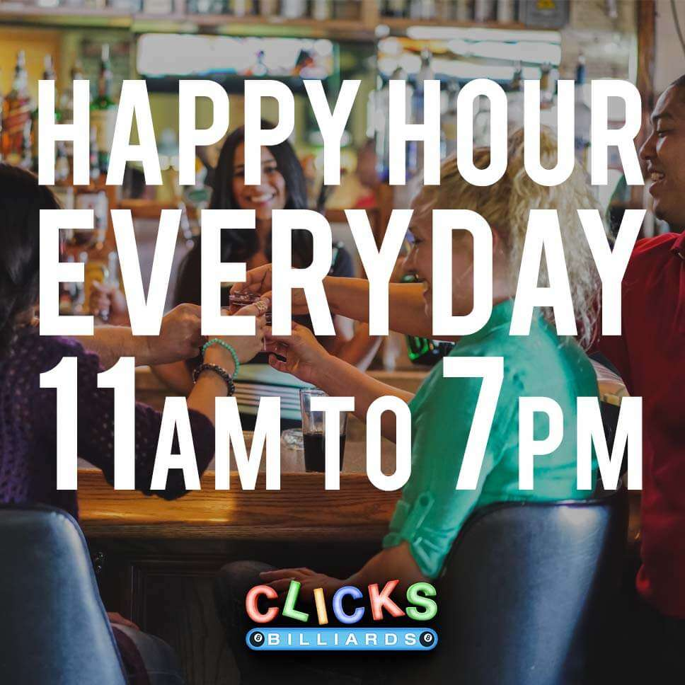 Happy Hour every day 11am - 7 pm