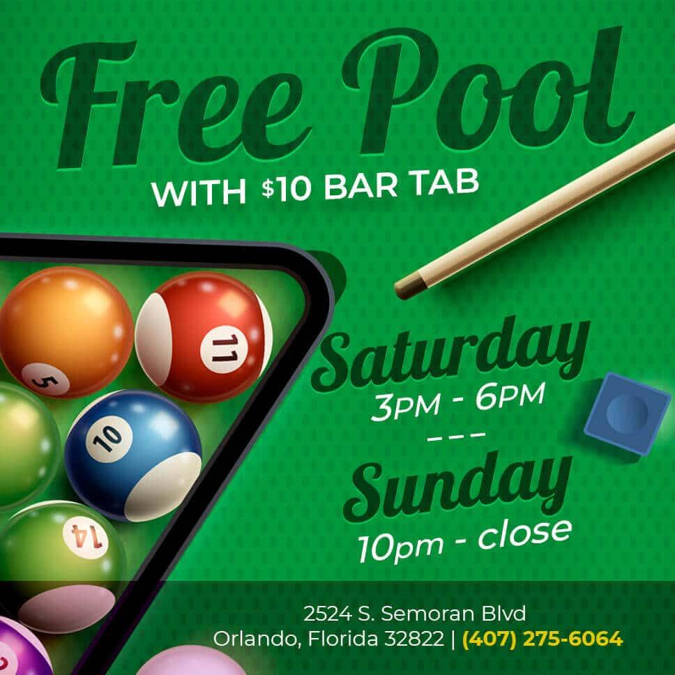 Free Pool with $10 Bar Tab
