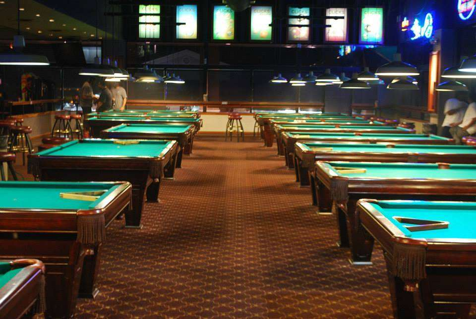 Large room of pool tables