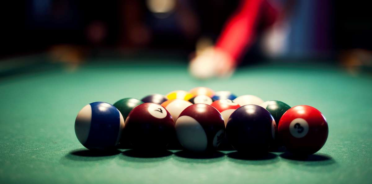 Close up shot of pool balls