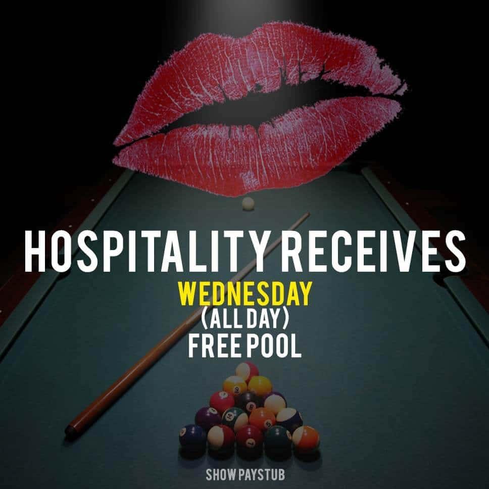 Hospitality Receives Free Pool Wednesdays