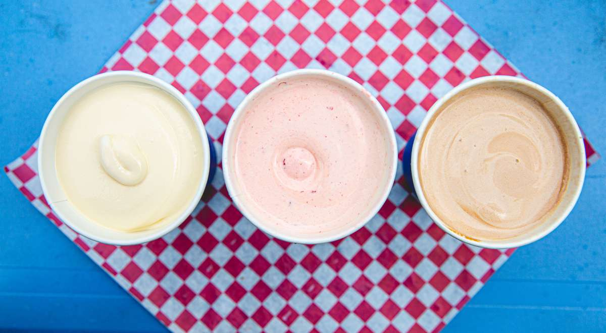 vanilla, strawberry, and chocolate milkshakes