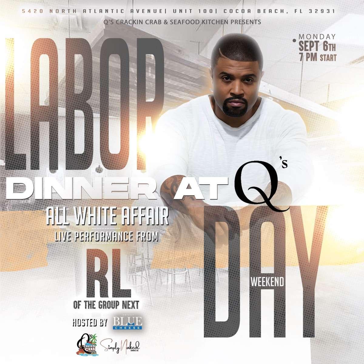 General Admission Dinner at Q's & Live Performance by singer RL