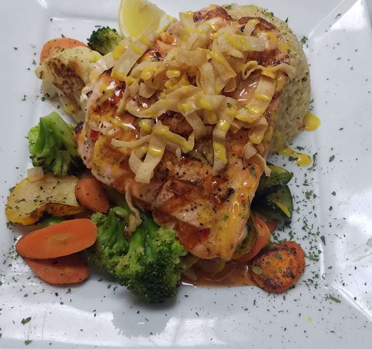 Lobster Rangoon Stuffed Salmon