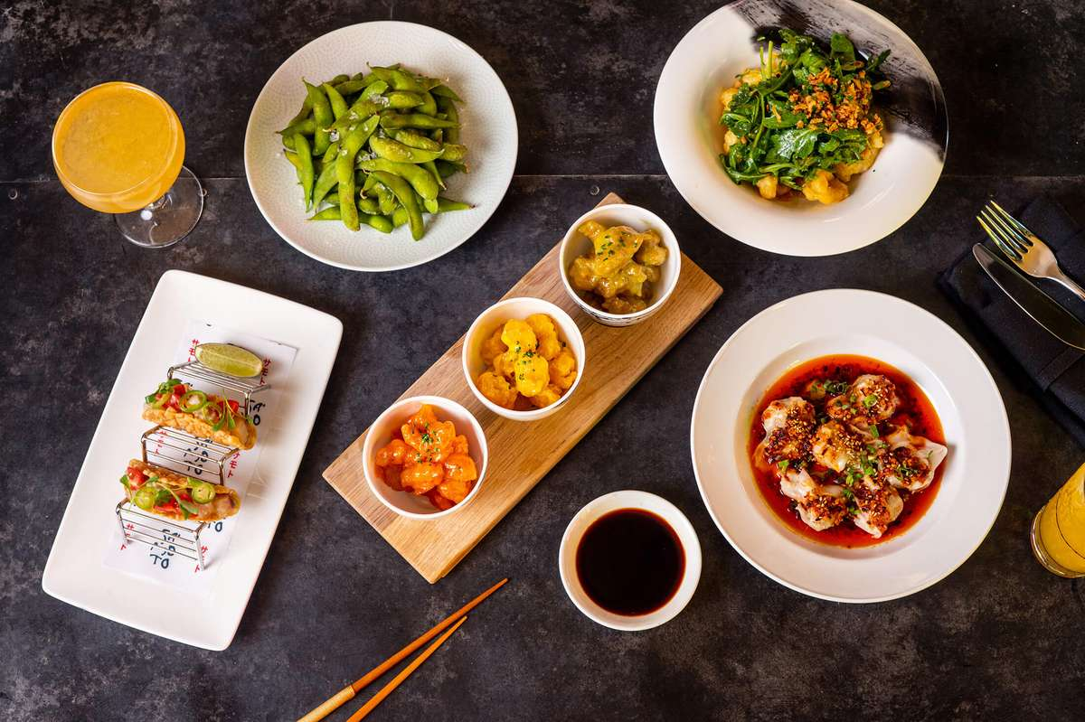 Variety of plated dishes