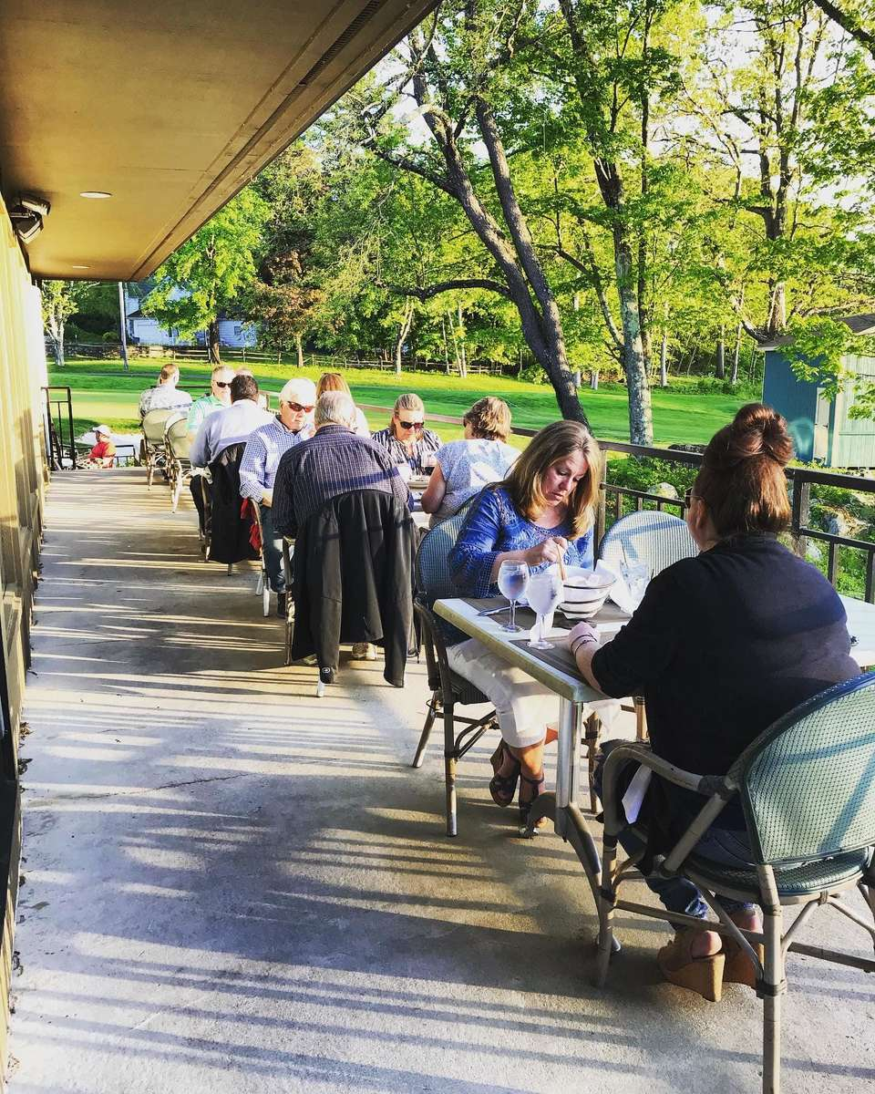 people eating outside