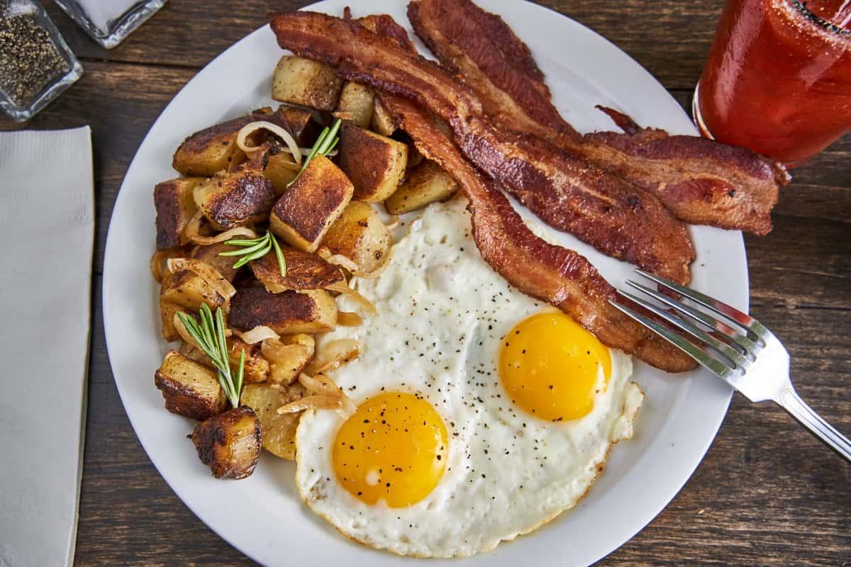 eggs, potatoes, and bacon