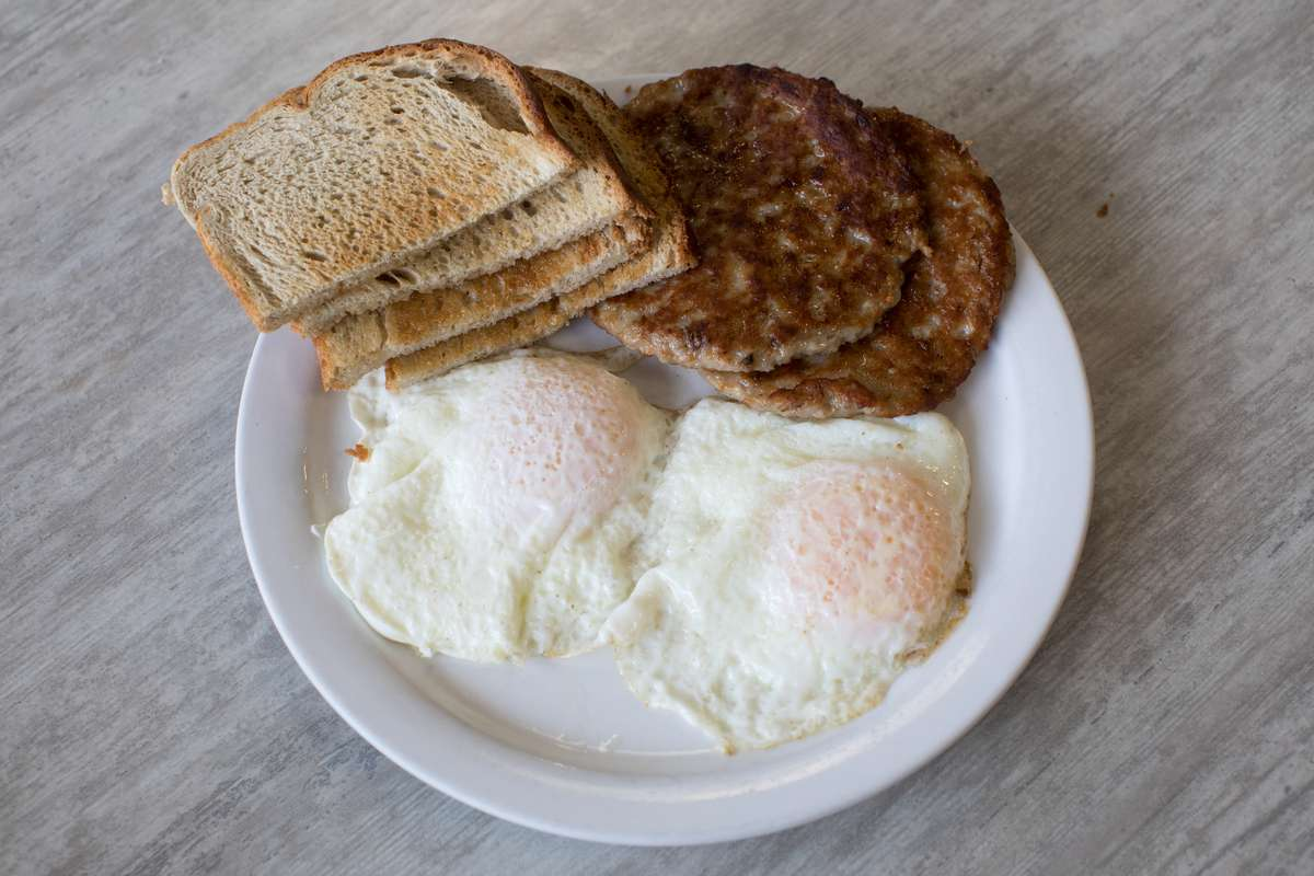 #3 Two Eggs, Toast & Sausage, Bacon or Ham