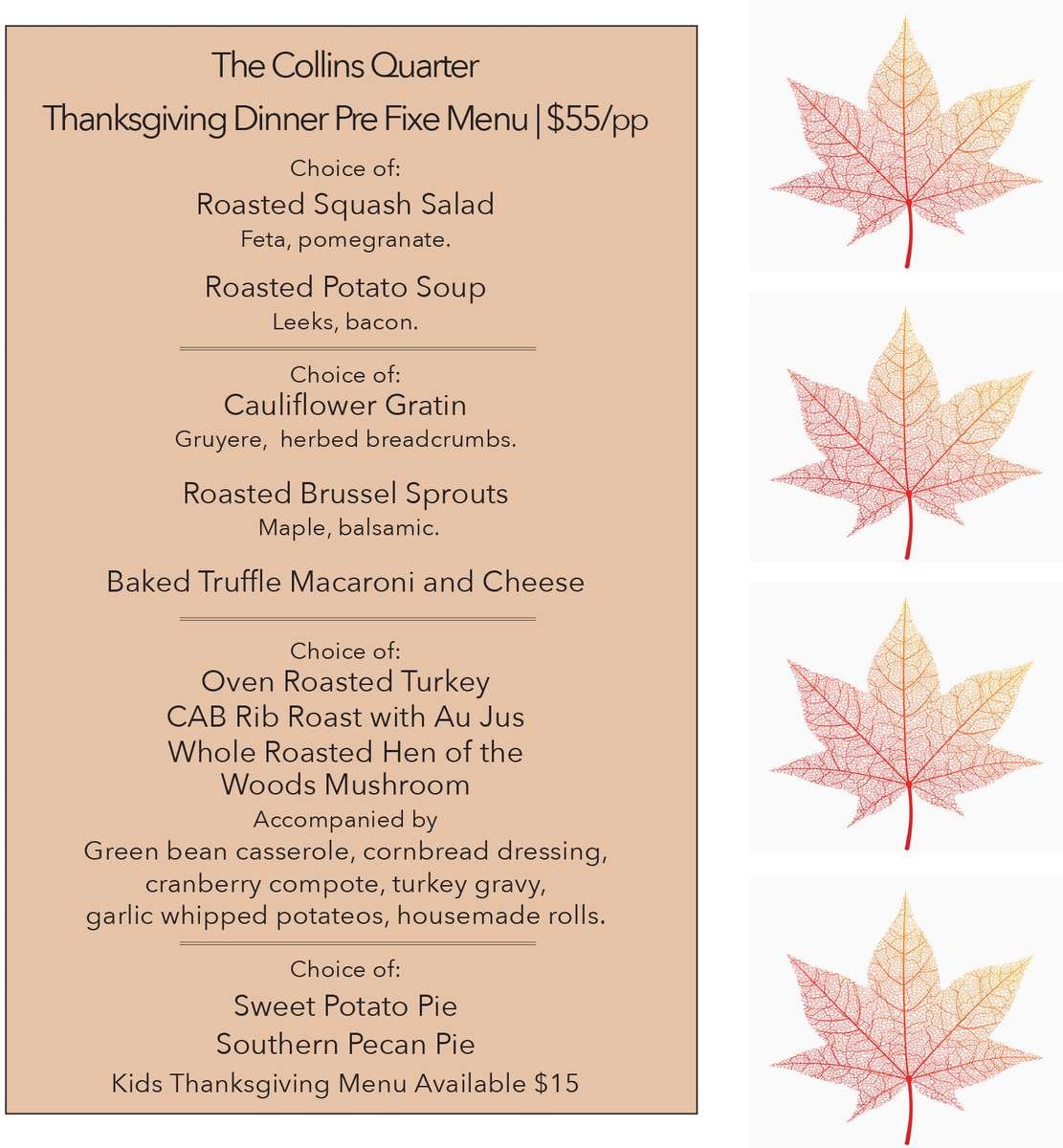 Thanksgiving Menu at The Collins Quarter