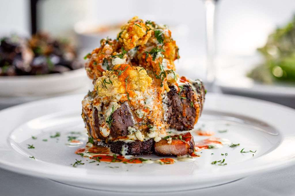 steak with carpet bagger topping