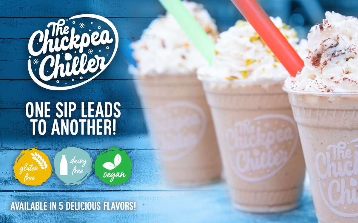 The Chickpea Chiller Milkshake graphic available in five flavors